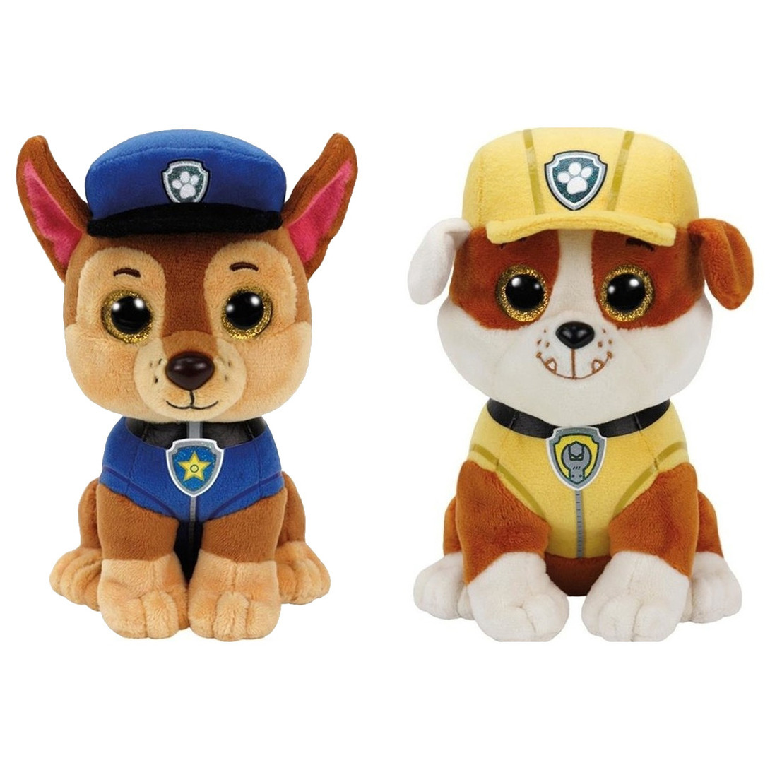 Paw patrol knuffels set van 2x karakters chase en rubble 15 cm
