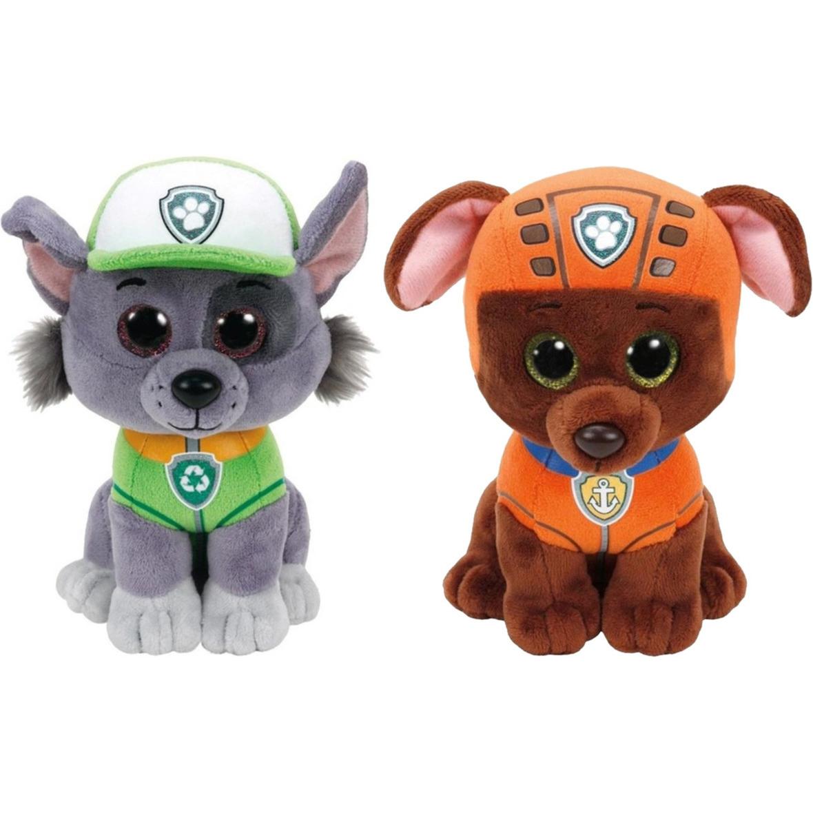 Paw patrol knuffels set van 2x karakters rocky en zuma 15 cm