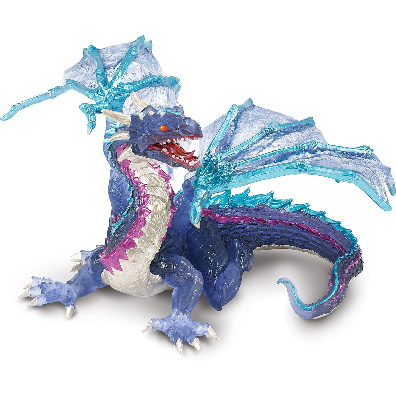Plastic blauwe speelgoed blauwe draak 15 cm