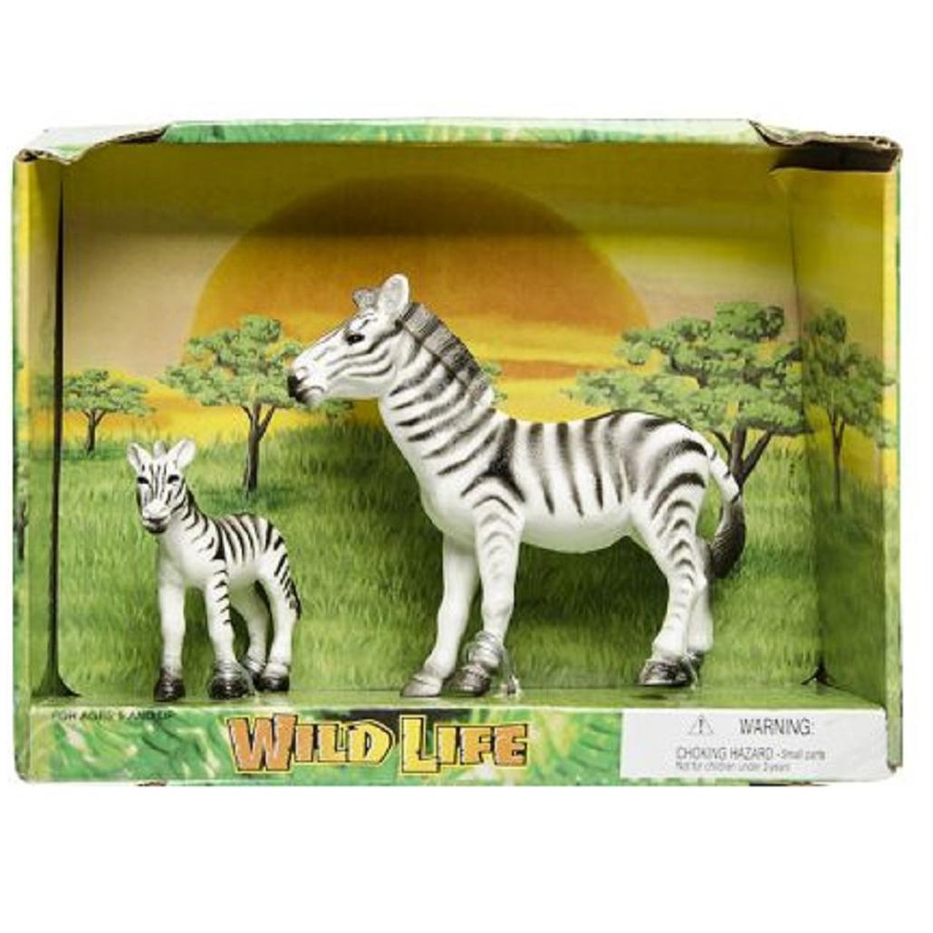 Plastic zebra met veulen speelgoed voor kinderen