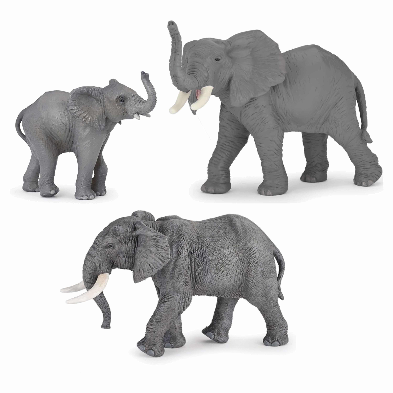 Plastic speelgoed figuren setje olifanten familie van 3x stuks