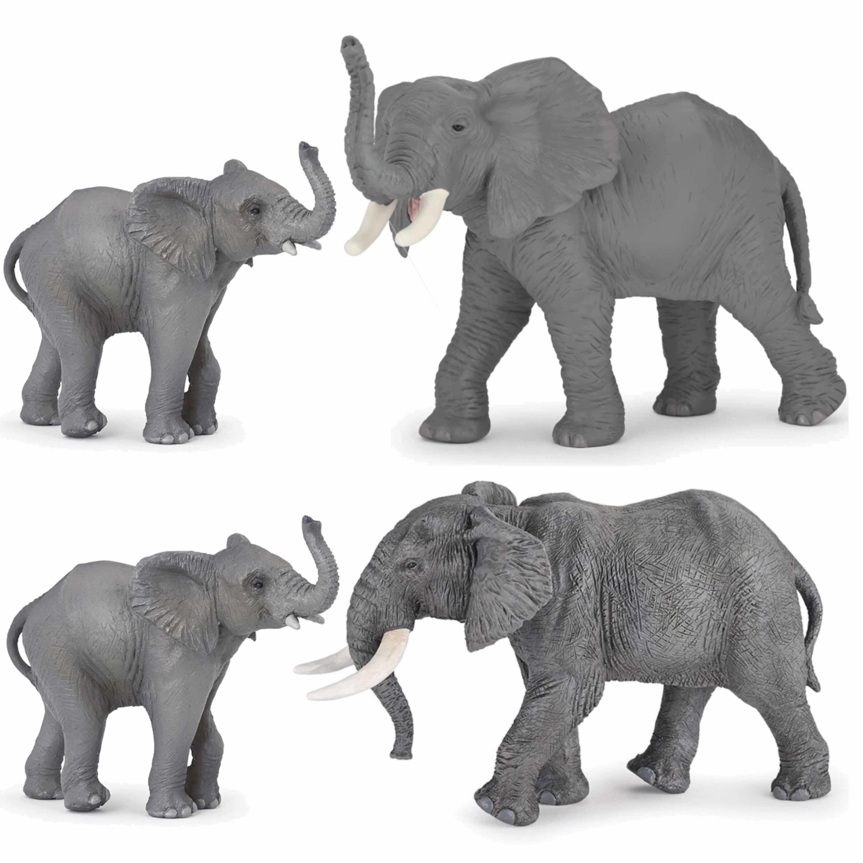Plastic speelgoed figuren setje olifanten familie van 4x stuks