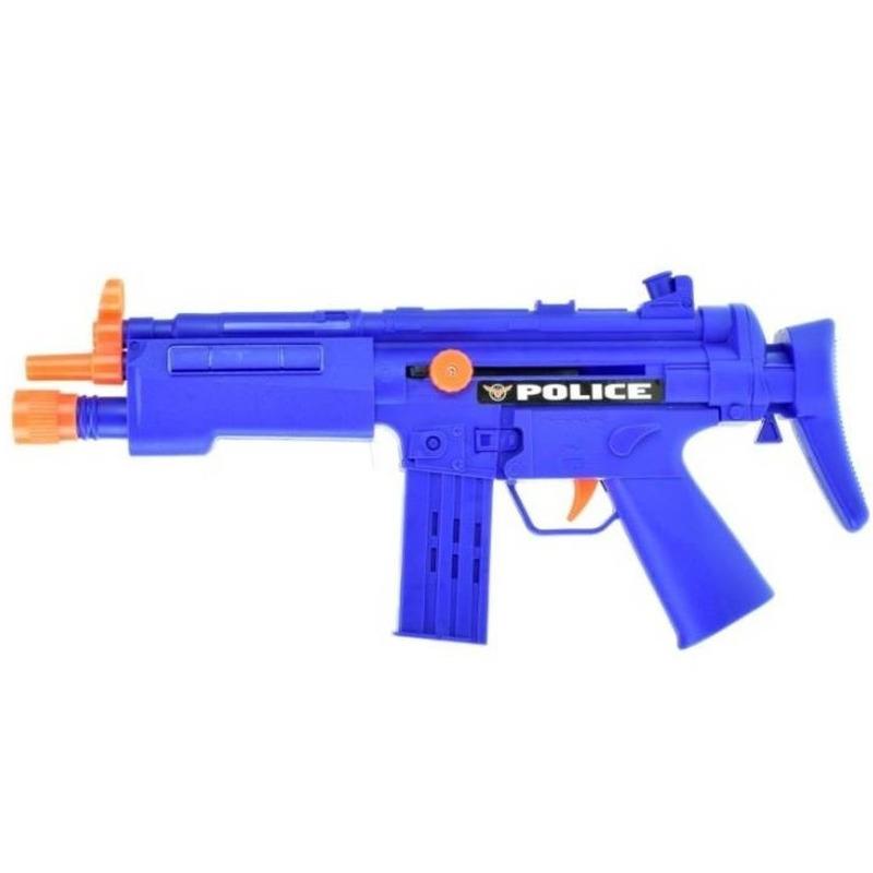 Blauw politie speelgoed wapen mp5 met ratel geluid 37 cm