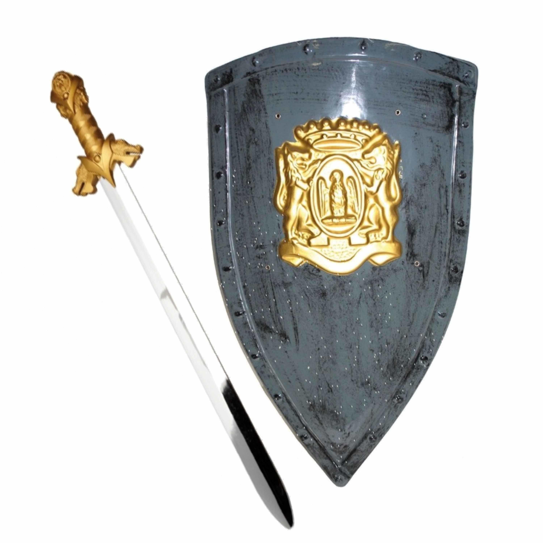 Ridders verkleed wapens set - schild met zwaard van 64 cm