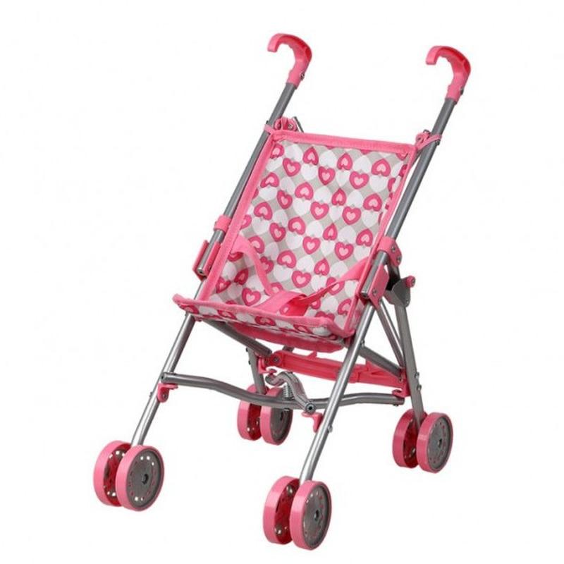 Roze grijze poppenbuggy speelgoed voor meisjes