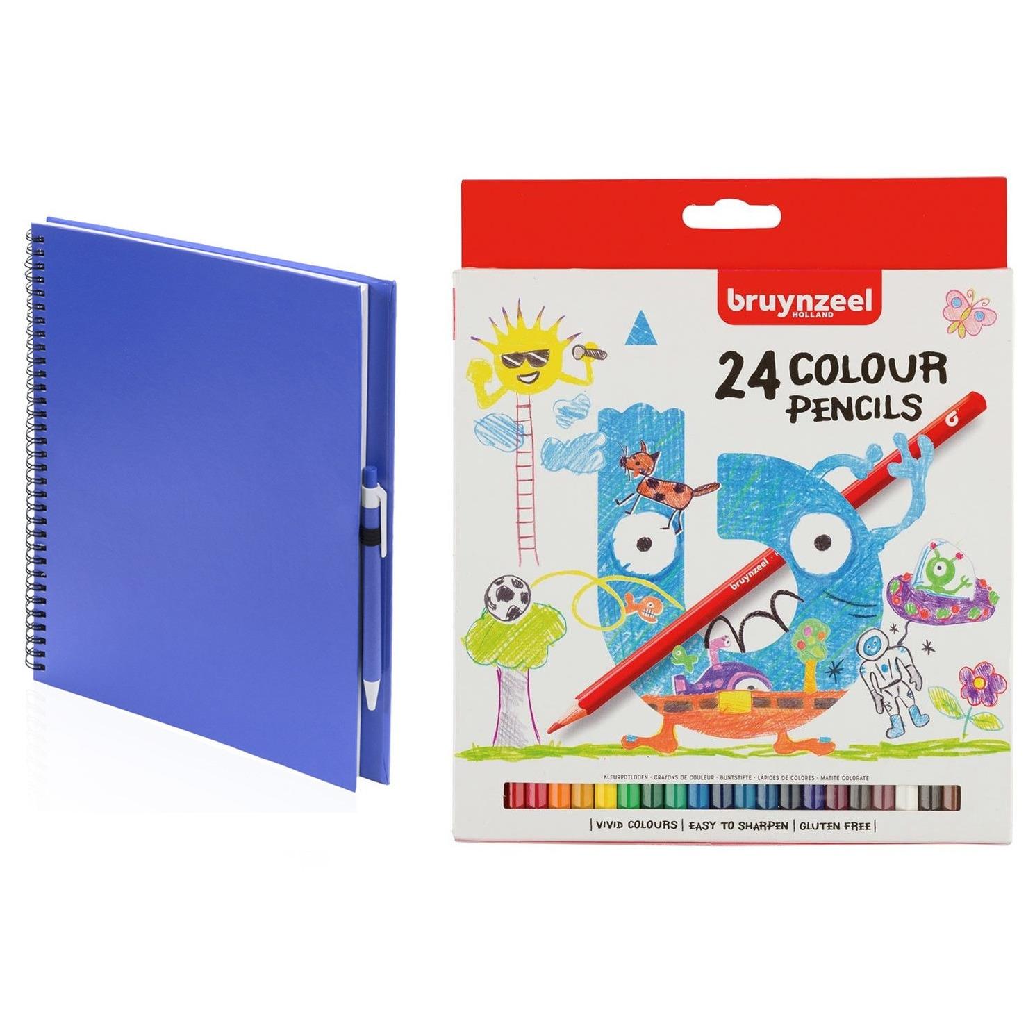 Blauw schetsboek tekenboek met 24 kleurpotloden
