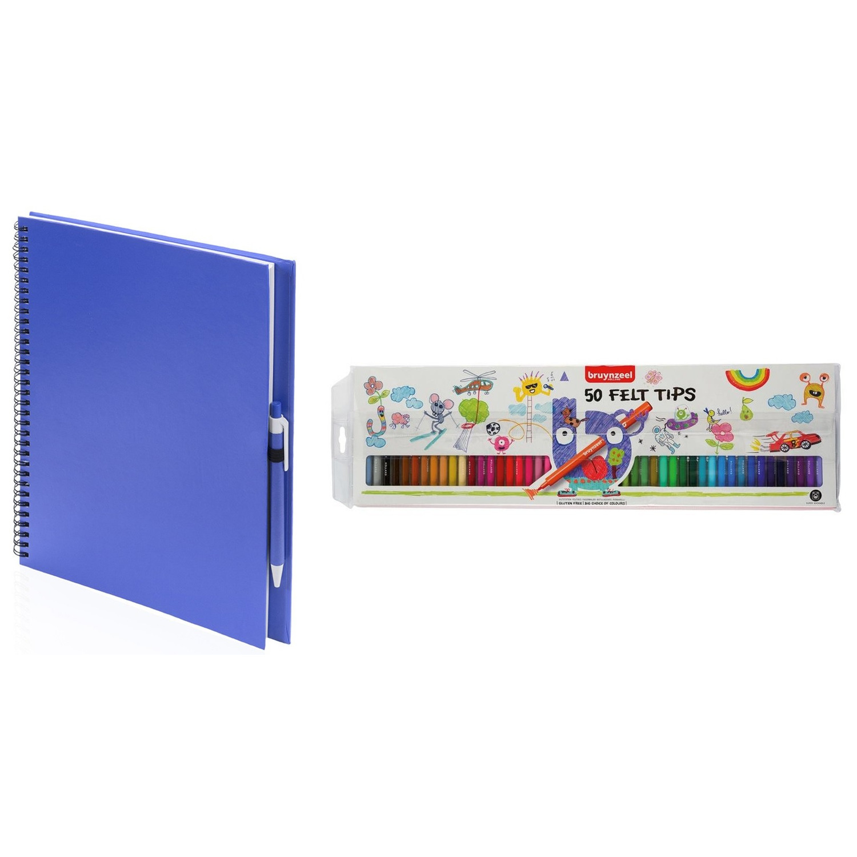 Blauw schetsboek tekenboek met 50 viltstiften