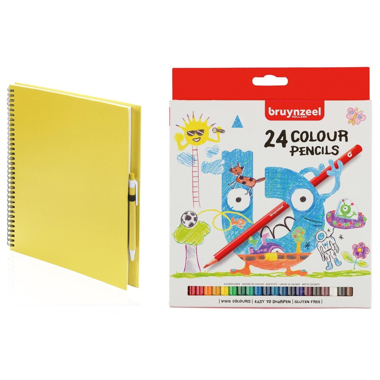 Geel schetsboek tekenboek met 24 kleurpotloden
