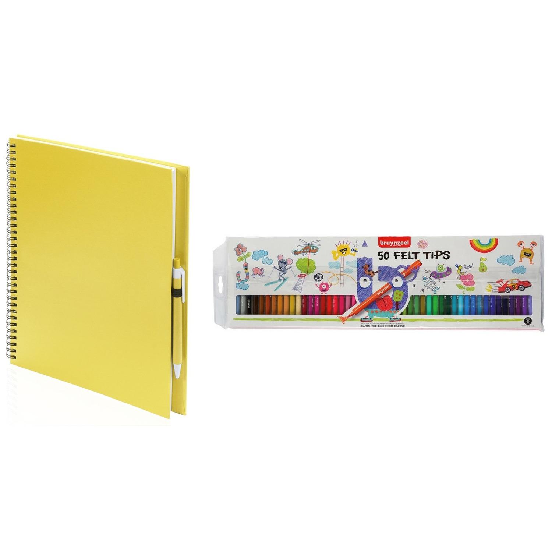 Geel schetsboek tekenboek met 50 viltstiften