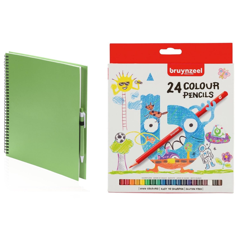 Groen schetsboek tekenboek met 24 kleurpotloden
