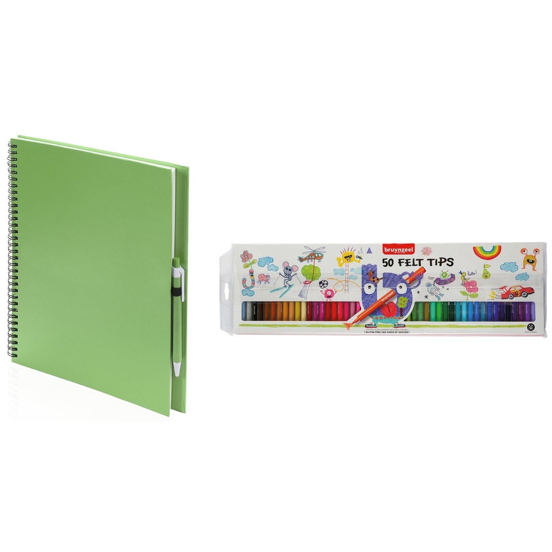 Groen schetsboek tekenboek met 50 viltstiften