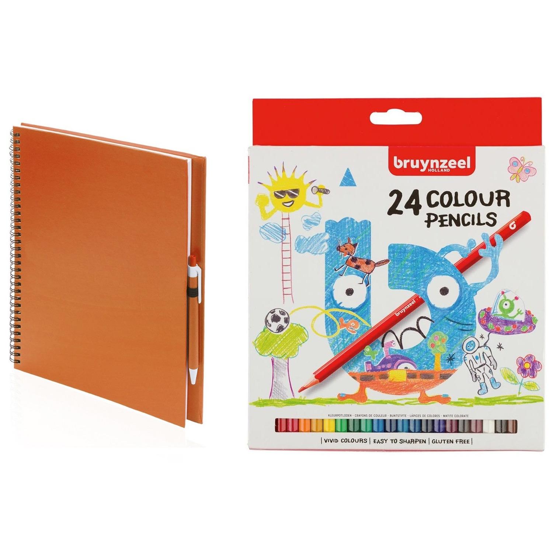 Oranje schetsboek tekenboek met 24 kleurpotloden
