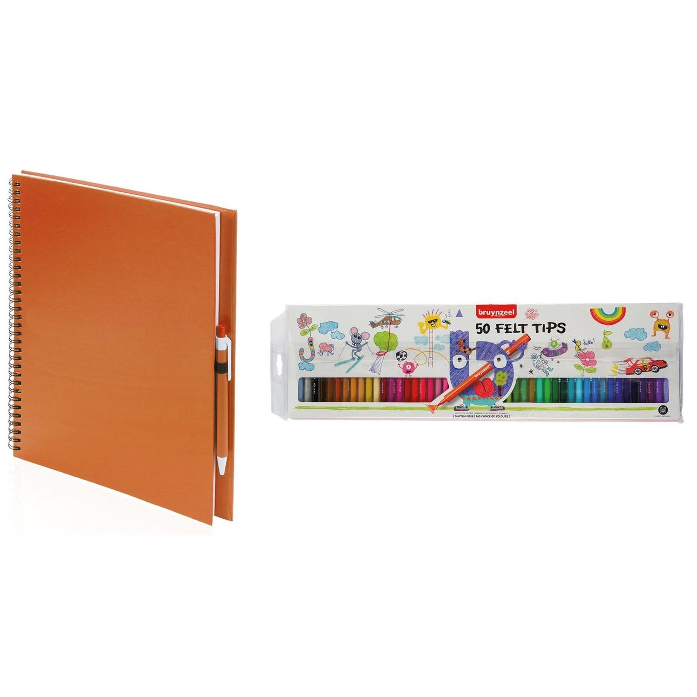 Oranje schetsboek tekenboek met 50 viltstiften
