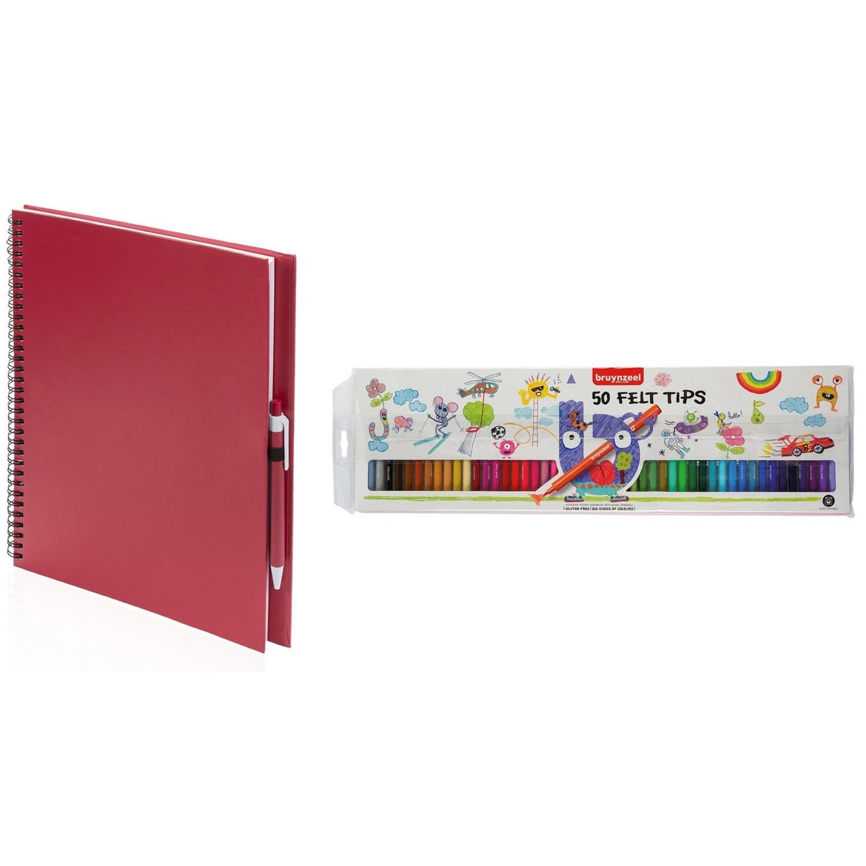 Rood schetsboek tekenboek met 50 viltstiften