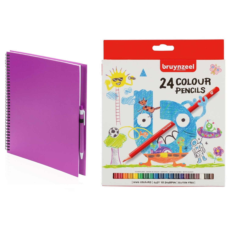 Roze schetsboek tekenboek met 24 kleurpotloden