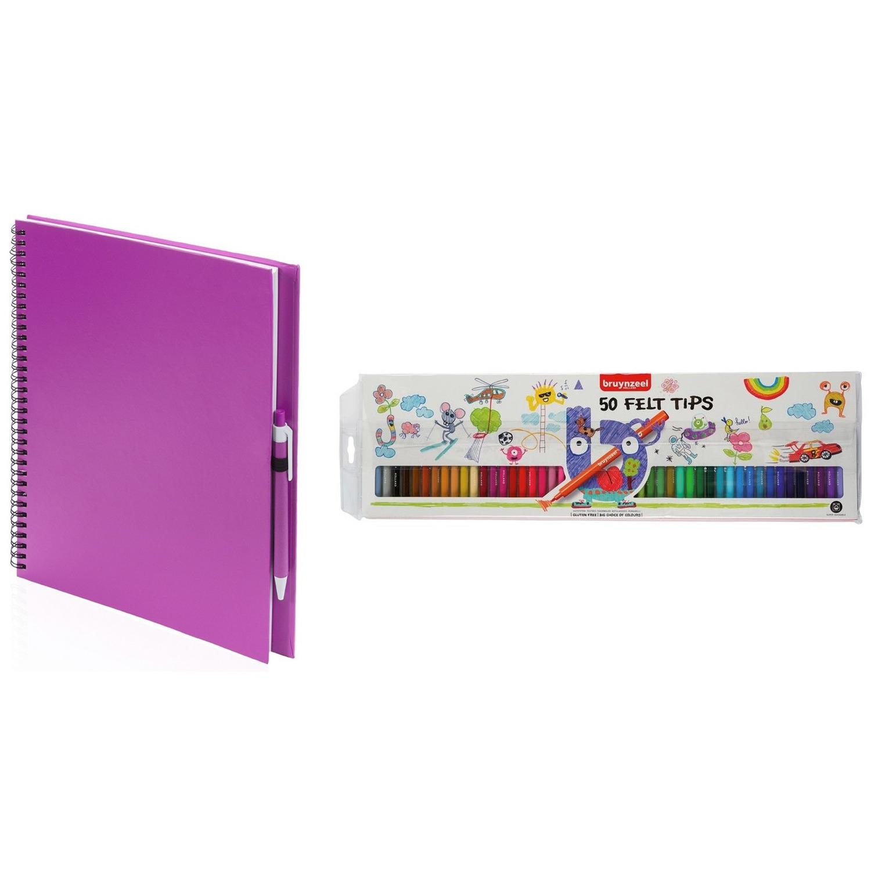 Roze schetsboek tekenboek met 50 viltstiften