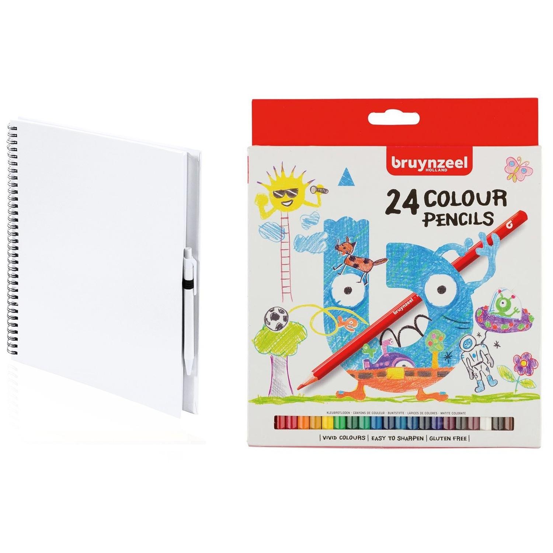 Wit schetsboek tekenboek met 24 kleurpotloden
