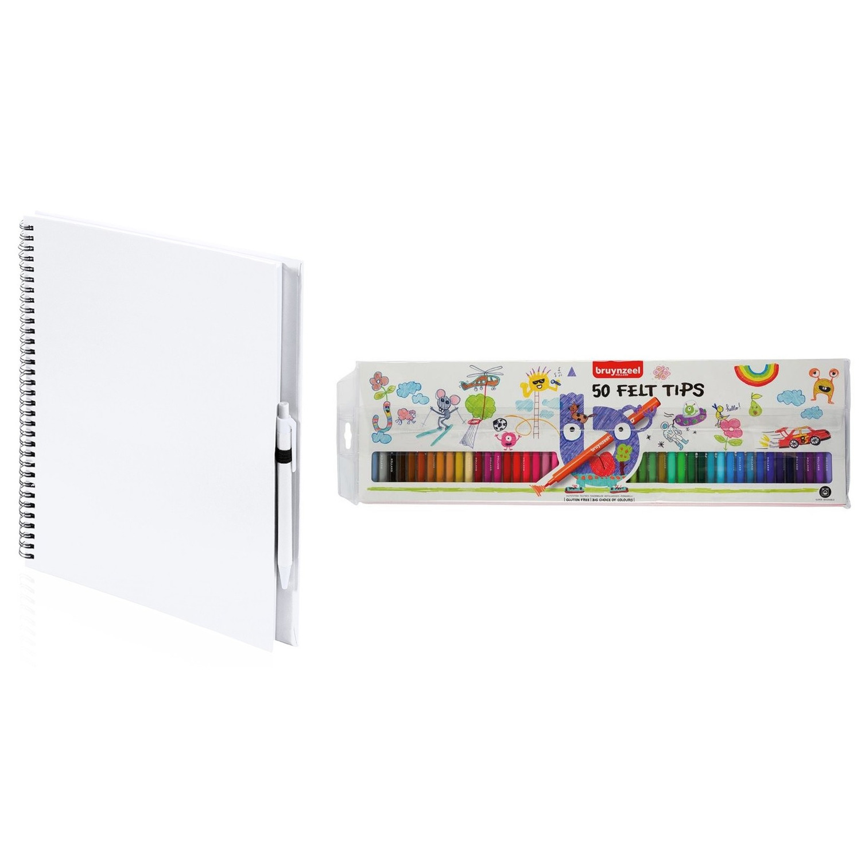 Wit schetsboek tekenboek met 50 viltstiften