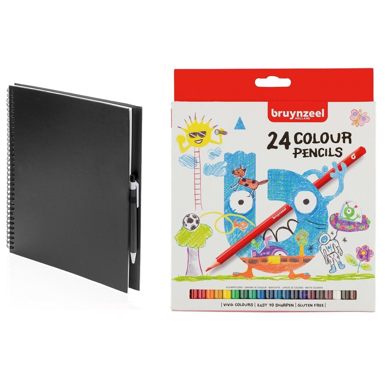 Zwart schetsboek tekenboek met 24 kleurpotloden