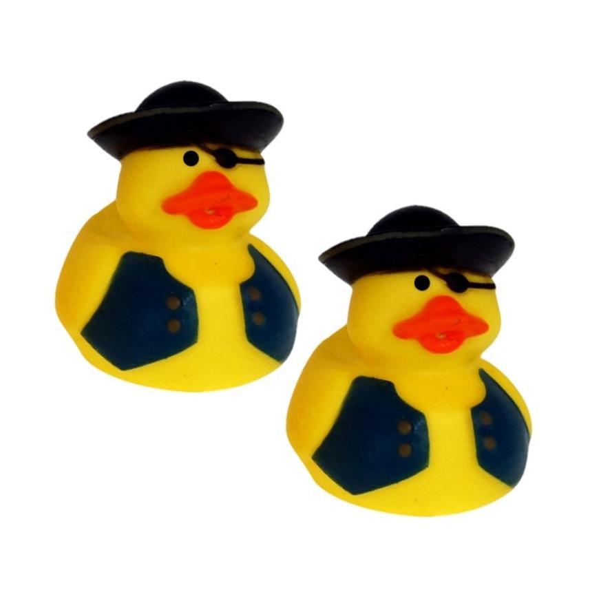 Set van 10x stuks geel piraten badeendje met zwart vest 5 cm