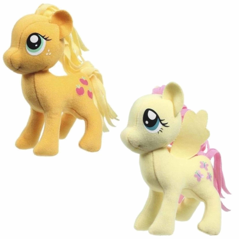 Set van 2x pluche my little pony speelgoed knuffels fluttershy en applejack 13 cm