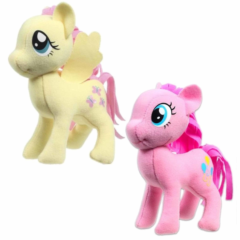 Set van 2x pluche my little pony speelgoed knuffels fluttershy en pinkie pie 13 cm