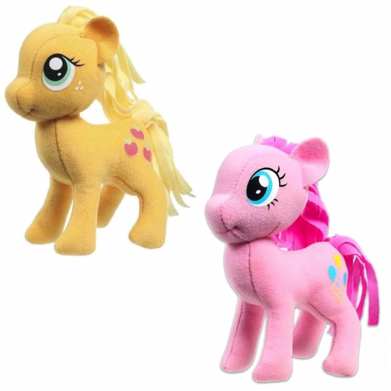 Set van 2x pluche my little pony speelgoed knuffels pinkie pie en applejack 13 cm