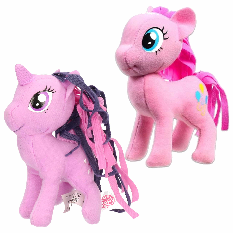 Set van 2x pluche my little pony speelgoed knuffels pinkie pie en sparkle 13 cm