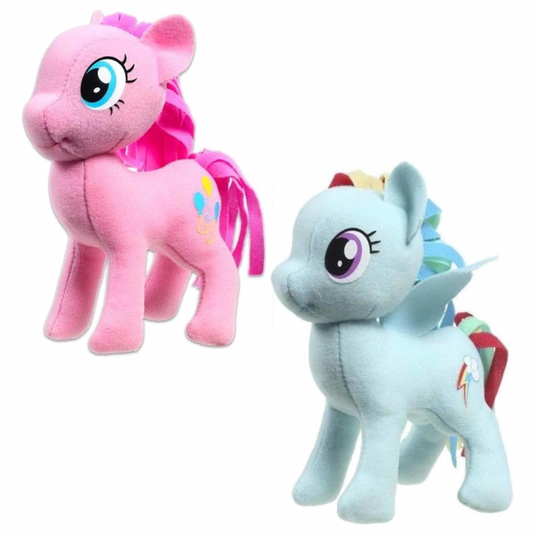 Set van 2x pluche my little pony speelgoed knuffels rainbow dash en pinkie pie 13 cm