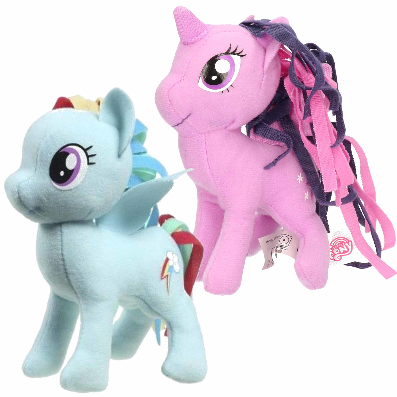 Set van 2x pluche my little pony speelgoed knuffels rainbow dash en sparkle 13 cm