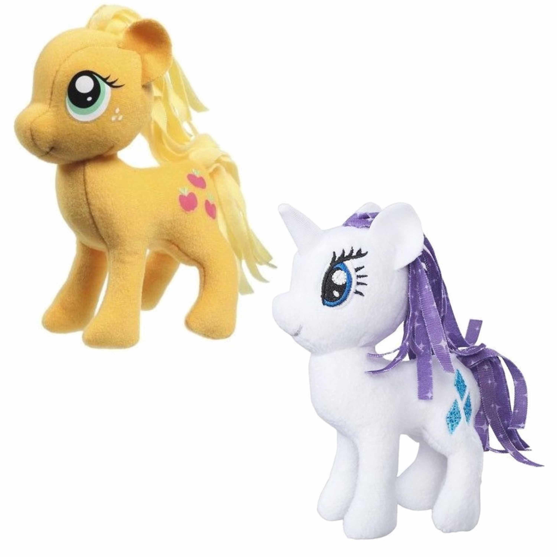 Set van 2x pluche my little pony speelgoed knuffels rarity en applejack 13 cm