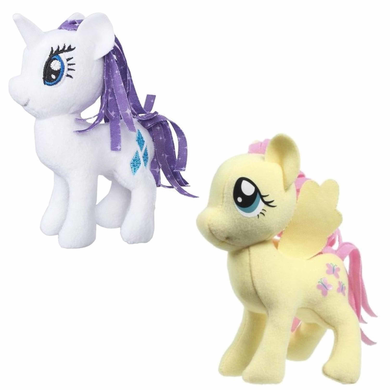 Set van 2x pluche my little pony speelgoed knuffels rarity en fluttershy 13 cm