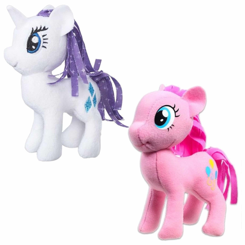 Set van 2x pluche my little pony speelgoed knuffels rarity en pinkie pie 13 cm