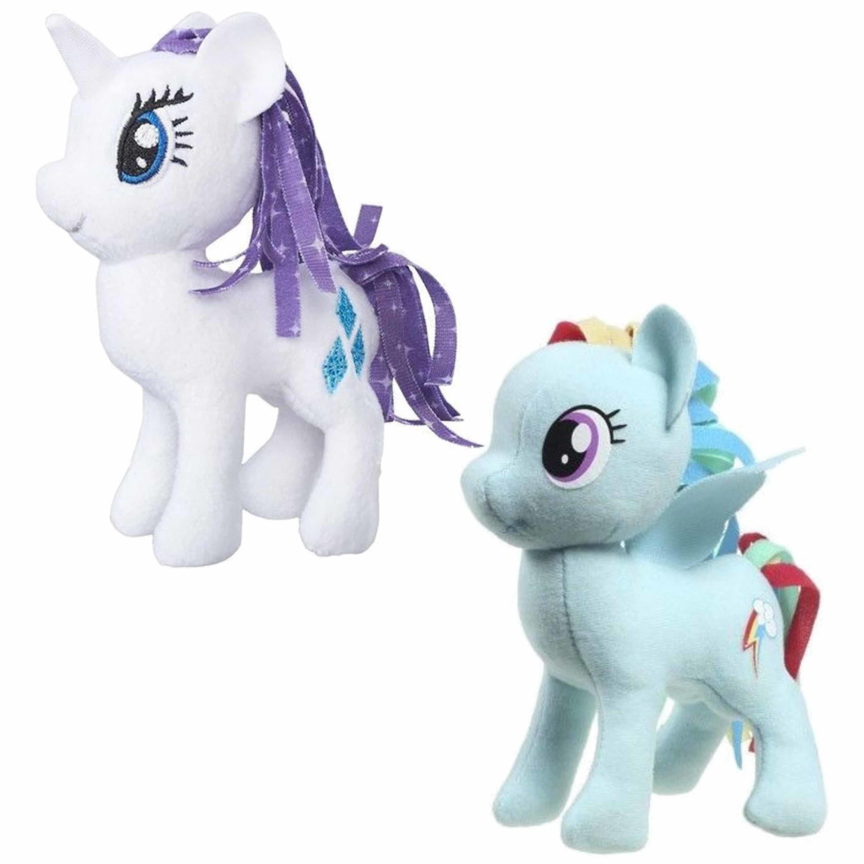 Set van 2x pluche my little pony speelgoed knuffels rarity en rainbow dash 13 cm