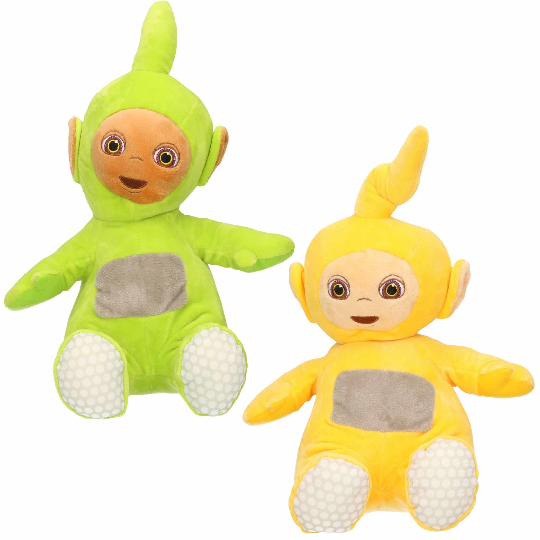 Set van 2x pluche teletubbies speelgoed knuffels dipsy en laa laa 34 cm