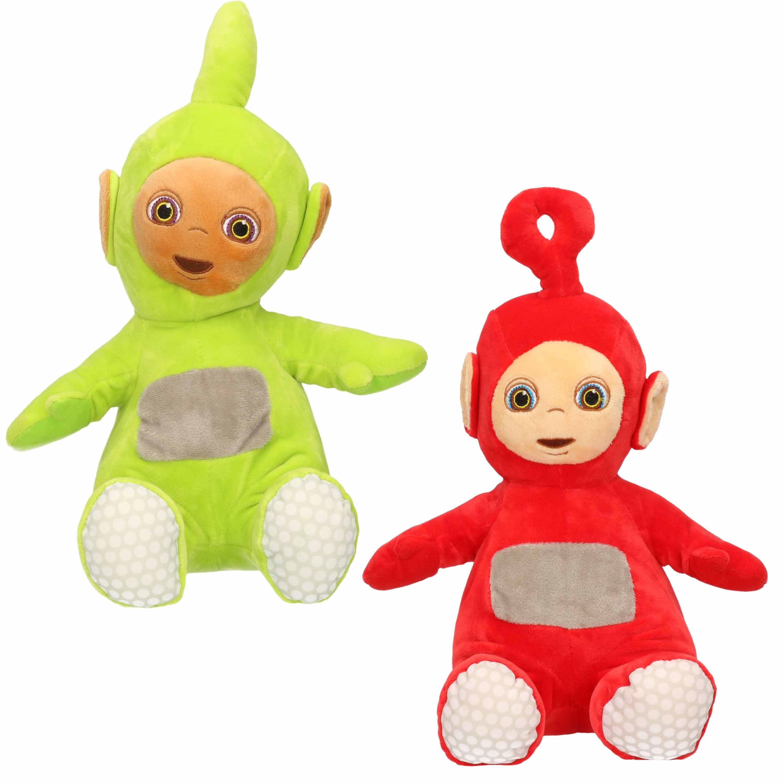 Set van 2x pluche teletubbies speelgoed knuffels dipsy en po 34 cm