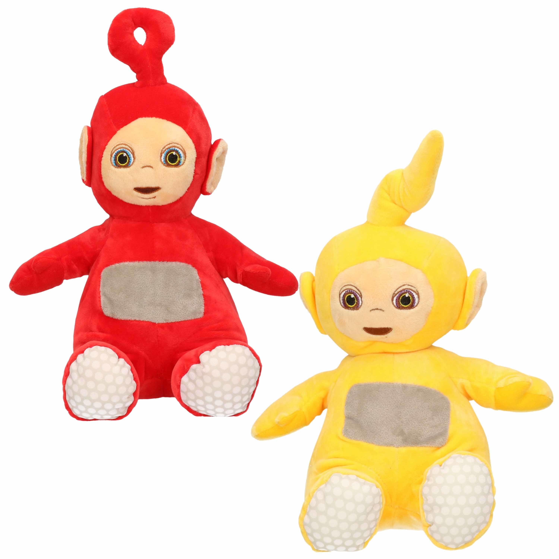 Set van 2x pluche teletubbies speelgoed knuffels laa laa en po 34 cm