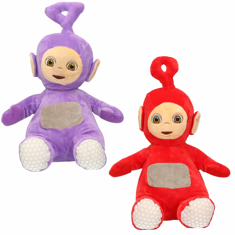 Set van 2x pluche teletubbies speelgoed knuffels tinky winky en po 34 cm