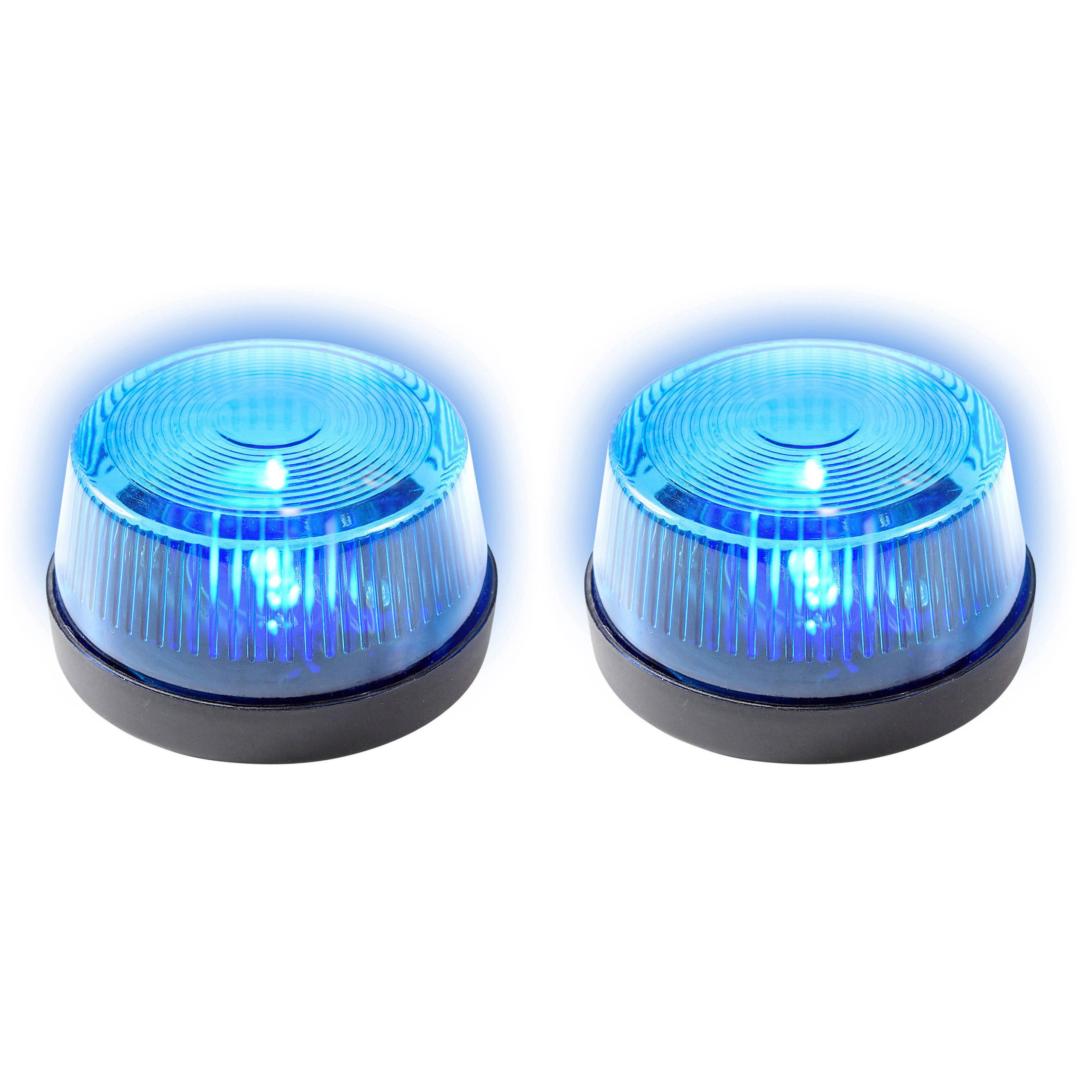 Set van 2x stuks signaallampen signaallichten blauw led licht 10 cm politie speelgoed feestverlichting