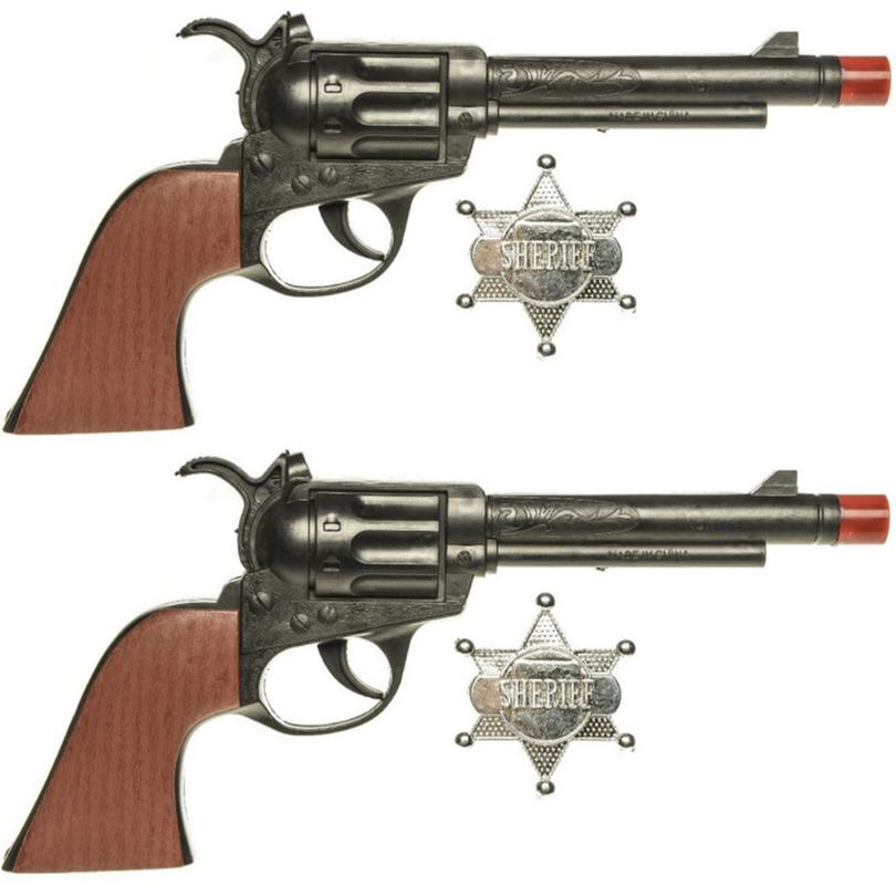 Set van 2x stuks speelgoed cowboy pistolen met sheriff ster 24 cm