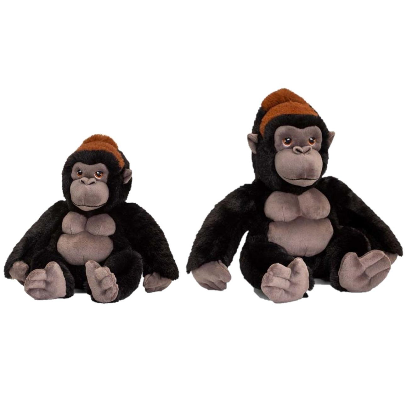 Set van 2x stuks gorilla aap apen knuffels 20 en 30 cm