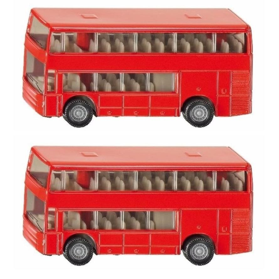 Set van 2x stuks speelgoedauto siku dubbeldekker bussen 10 cm