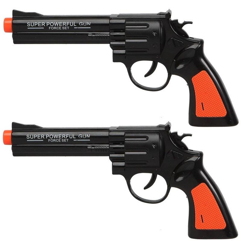Set van 2x stuks politie speelgoed pistool pistolen zwart met geluid 23 x 11 cm