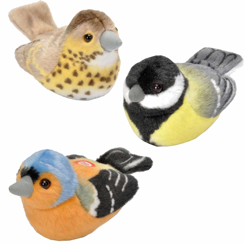 Set van 3x stuks pluche vogels knuffels van 14 cm met geluid 10274832