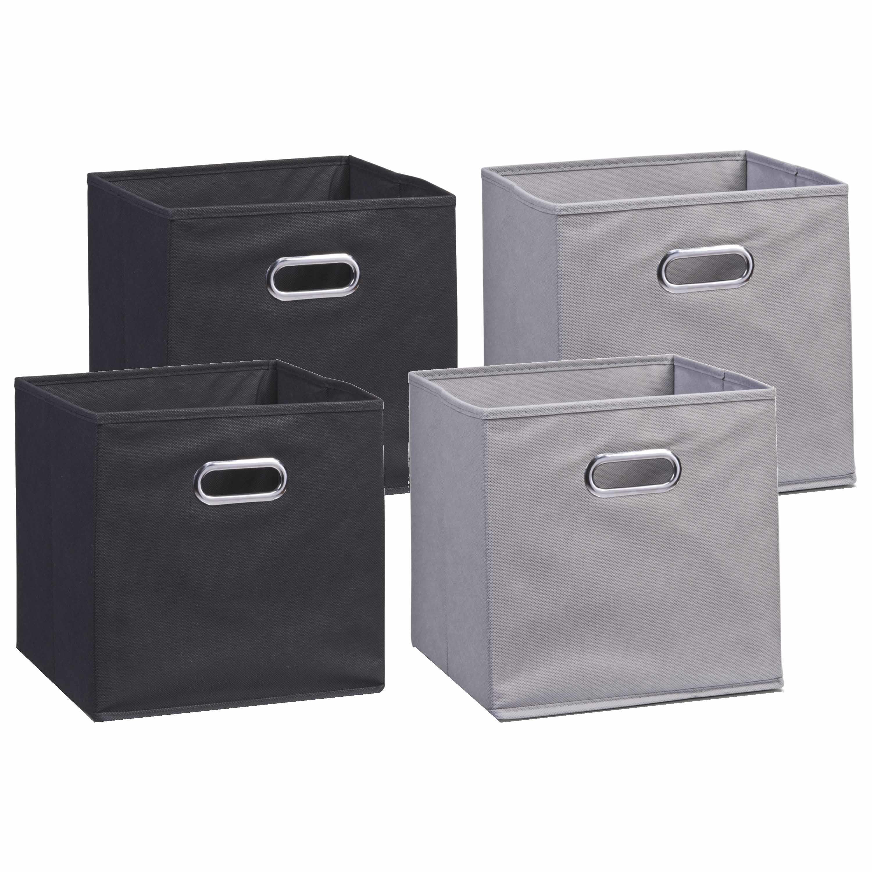 Set van 4x stuks opbergmanden kastmanden 28 x 28 cm zwart en grijs