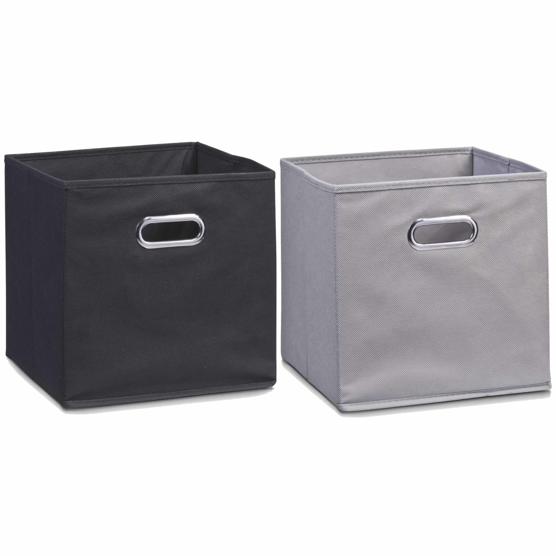 Set van 4x stuks opbergmanden kastmanden 32 x 32 cm zwart en grijs