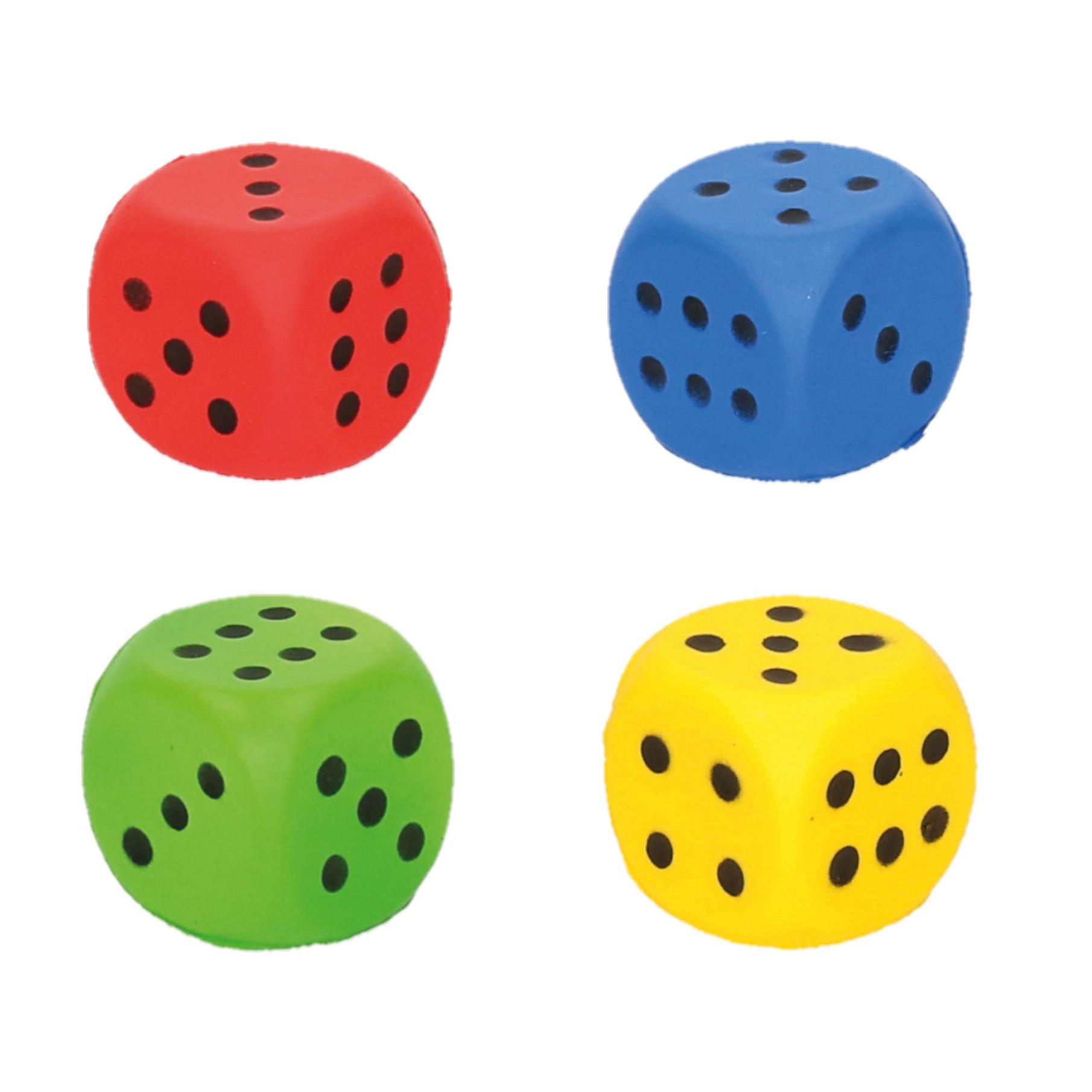 Set van 4x stuks speelgoed dobbelstenen van 4 x 4 cm