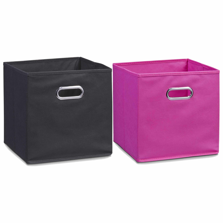 Set van 6x stuks opbergmanden kastmanden 28 x 28 cm zwart en roze