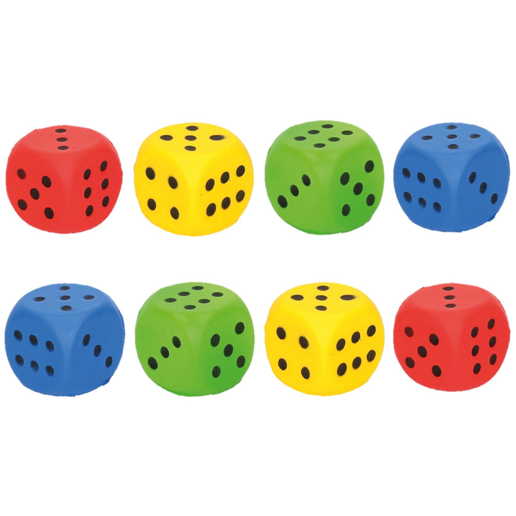 Set van 8x stuks speelgoed dobbelstenen van 4 x 4 cm
