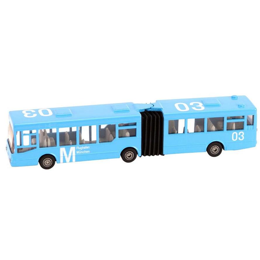 Kinderspeelgoed stadsbus harmonicabus lichtblauw schaal 1 72